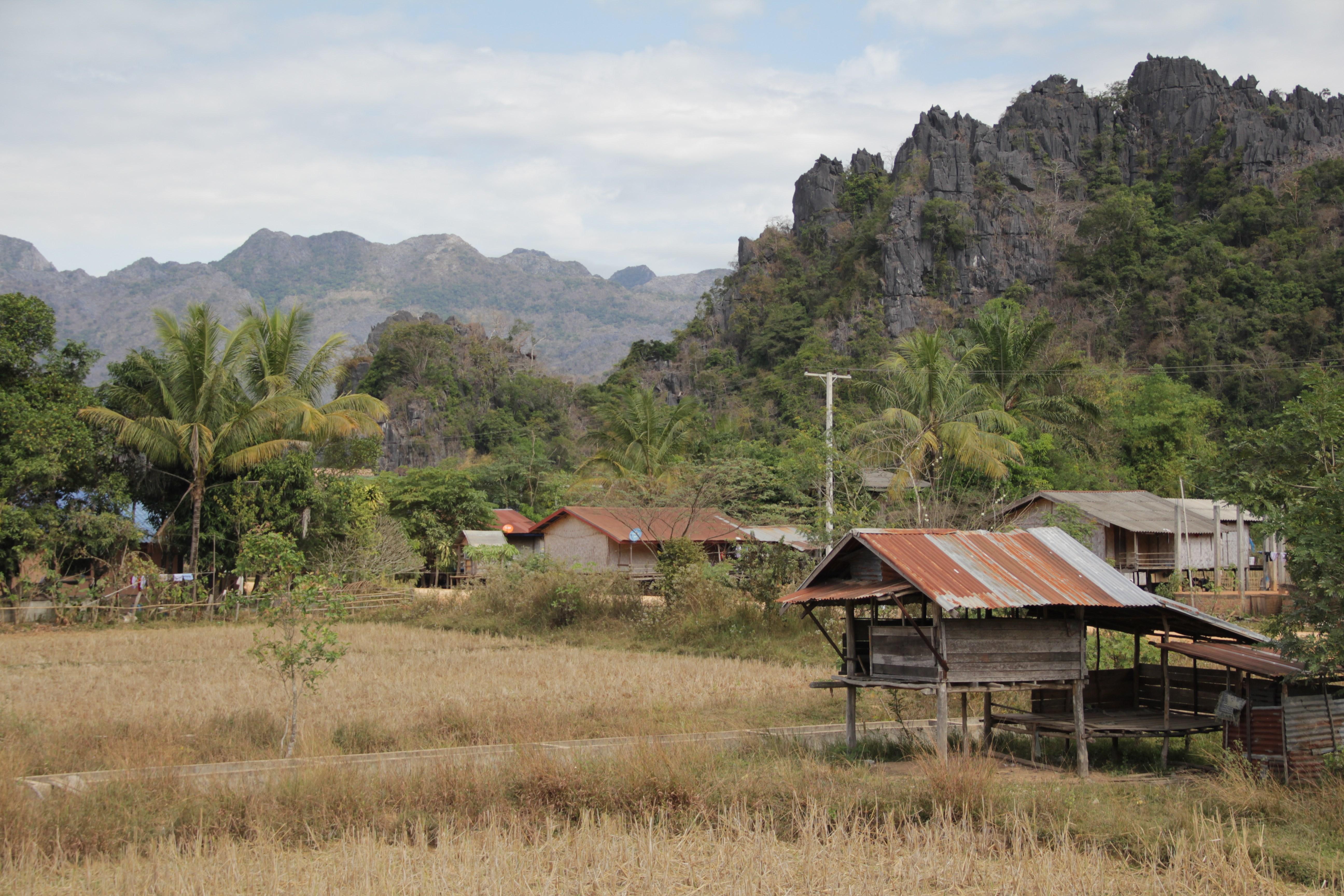Paysage typique de la boucle : des champs, quelques maisons sur pilotis et au loin, les montagnes de karst  (© Aurélie Bacheley).