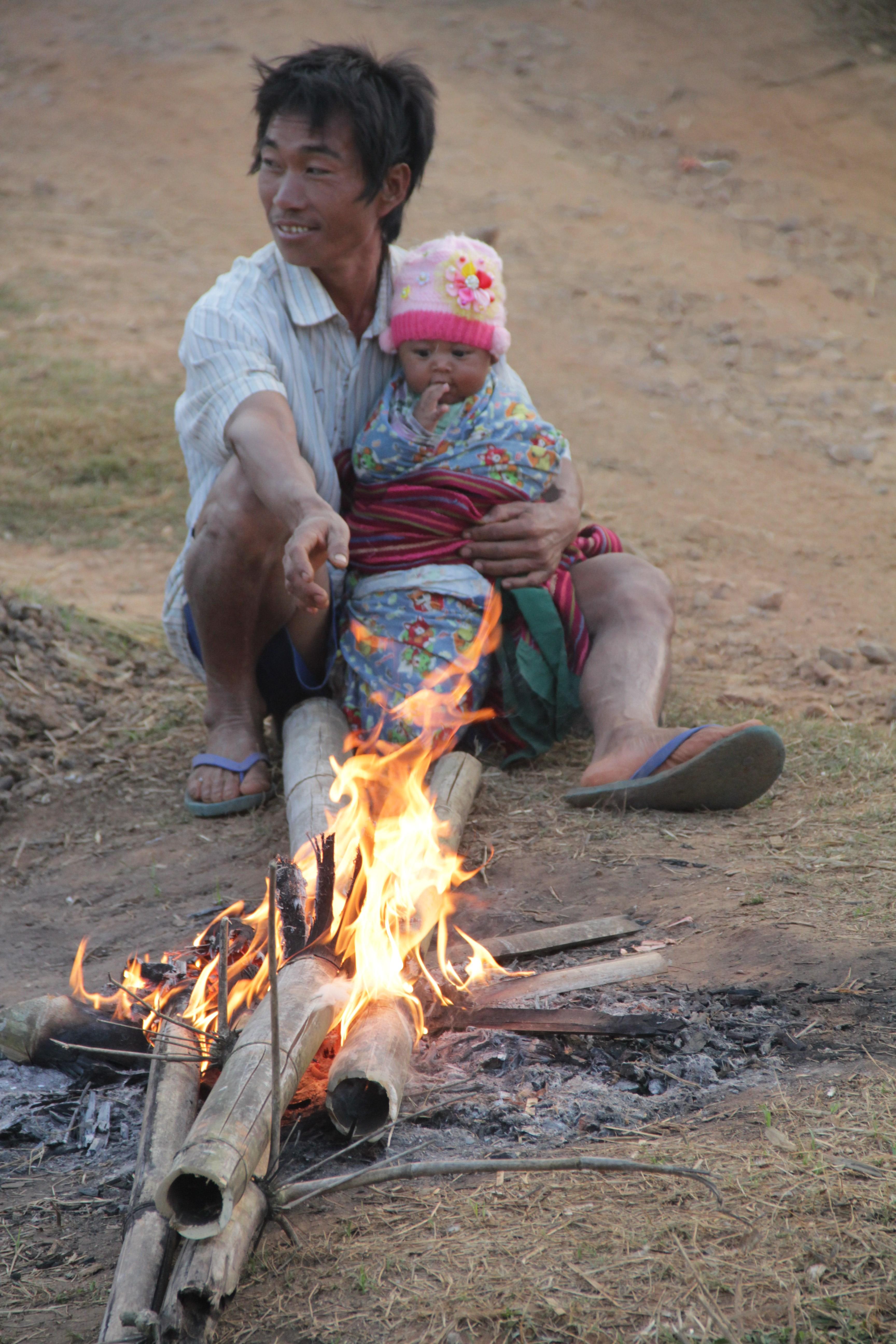 Un petit feu pour se réchauffer à Kyautsu, où la nuit tombe vite, ainsi que le froid (© Jérôme Decoster).