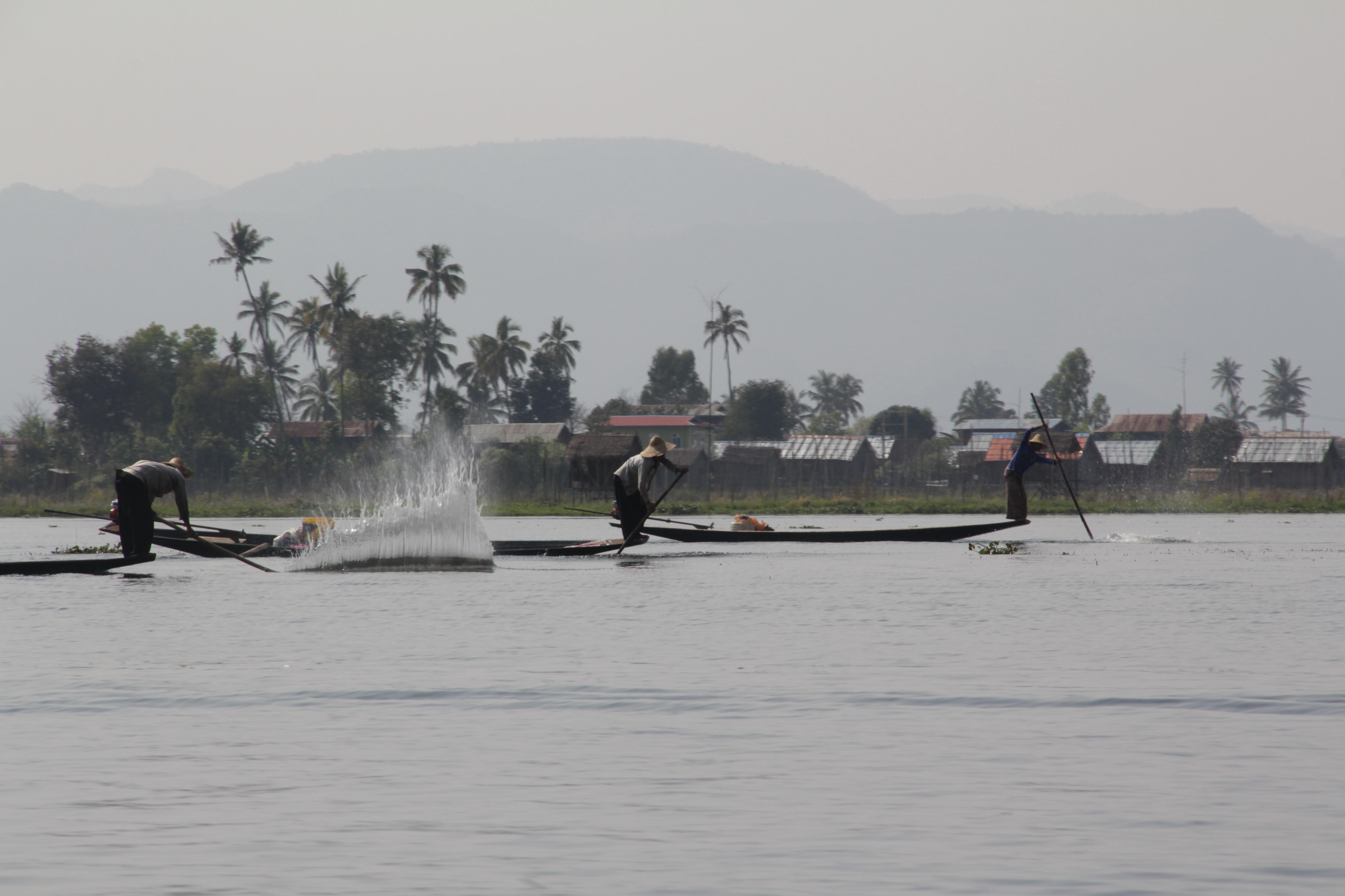 Pour attirer les poissons dans leur filet, les pêcheurs battent l'eau énergiquement (© Jérôme Decoster).