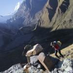 Pour débuter ce quatrième jour de marche, un col magnifique avec près de 800 m de dénivelé (© Jérôme Decoster).